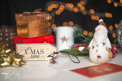 New years and christmas deco, written its xmas time on wooden de Royalty Free Stock Images