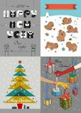 New Years and Christmas Retro Cards. Happy New Year 2018 and Merry Christmas. Four retro cards with funny dogs, female hands and colorful gifts. Tuxedo font Royalty Free Stock Photos