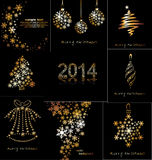New Years or Christmas toys made of gold snowflake Royalty Free Stock Photos