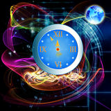 New Years clock. On a abstract background stock illustration