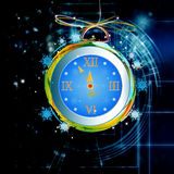 New Years clock. On a abstract background Stock Photography