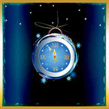 New Years clock. On a abstract background Royalty Free Stock Photos