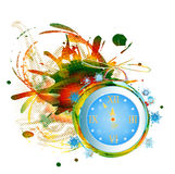 New Years clock. On a abstract background royalty free illustration