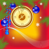 New Years clock on a red background Royalty Free Stock Images