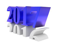 New Years concept, 3d illustration. New Years concept image with 2017 in blue steel, 3d rendering Stock Image