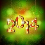 New Years concept. Festive background with golden figures 2014 Stock Image