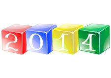 New Years on cubes. Figures New Years on multicolored cubes Stock Photos