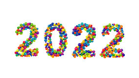 2022 New Years date design of colorful spheres. In the colors of the rainbow  on white for a festive greeting card or invitation Stock Images
