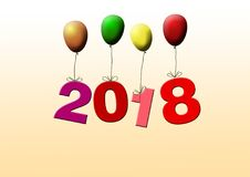 New years date 2018 flying with colorful balloons. New years date 2018 flying with balloons royalty free illustration