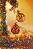 New Years Day. Bright christmas balls with tinsel Royalty Free Stock Images