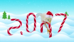 New Years day card 2017 with symbol of the Chinese calendar (includes text). New born cute rooster sitting on the candy cane and then falls in to snow, winter