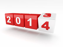New years day. 3d image of 2014 cube Royalty Free Stock Photography