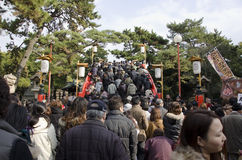 New years day Japanese going to the Shrine Stock Photography