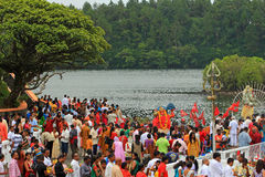 New Years Day in Sacred Lake, Mauritius Royalty Free Stock Photo