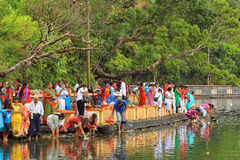 New Years Day in Sacred Lake, Mauritius Stock Photography