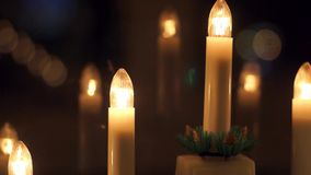 New years decoration of candles slide stock video footage