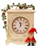 New years decoration with clock and Santa Claus. Isolated on white background Royalty Free Stock Photo