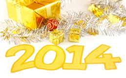 New years 2014  decoration. New year 2014  decoration with gift and ribbon Royalty Free Stock Images