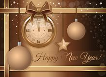 New Years design with a gold antique clock. New Years design. Beige festive background with a gold antique clock, Christmas decorations and congratulatory stock illustration