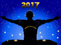 New Years 2017 DJ silhouette and record decks background Royalty Free Stock Photos