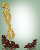 New years eve 2010 background. Illustration composition for the coming New Year and Holidays with golden numbers and plaid ornaments for party invitation Royalty Free Stock Photo