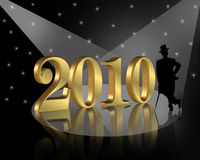 New Years eve 2010 background. 3D illustration for New years eve background, card greeting or party invitation with gold numbers 2010 and silhouetted well Stock Photos