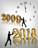 New Years eve 2010 graphic clock. 3D Illustration for the coming New Year and Holidays with golden numbers 2010 and silhouetted men pushing them past clock about Stock Images