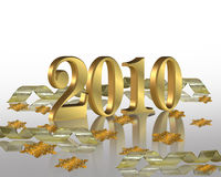 New Years eve 2010 Party invitation. 3D illustration for New years eve card, greeting or party invitation with gold numbers 2010, ribbons and snowflakes Royalty Free Stock Image