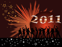New years eve 2011. Illustration of dancing people silhouettes on an abstract background stock illustration