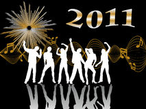 New years eve 2011. Illustration of dancing people silhouettes on an abstract background Royalty Free Stock Images