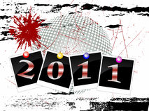 New years eve 2011. Illustration of photos with colorful numbers on a grunge background Royalty Free Stock Images