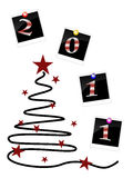New years eve 2011. Illustration of photos around an abstract christmas tree Royalty Free Stock Photo