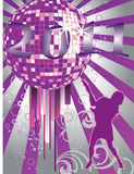 New years eve 2011. Illustration of a female silhouette infront of a colorful mirror ball Royalty Free Stock Photography