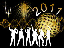 New years eve 2011. Illustration of dancing people silhouettes on an abstract background Stock Images