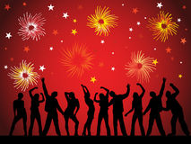 New years eve 2011. Illustration of dancing people silhouettes on an abstract background royalty free illustration