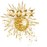 New years eve - 2011. Illustration of a golden mirror ball and number on an abstract background Royalty Free Stock Images