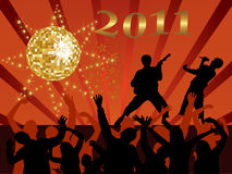 New years eve 2011. Illustration of dancing people silhouettes on an abstract party background stock illustration