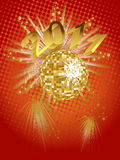 New years eve - 2011. Illustration of a golden mirror ball and numbers on an abstract background Royalty Free Stock Photos