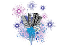 New years eve - 2011. Illustration of fireworks around business towers stock illustration