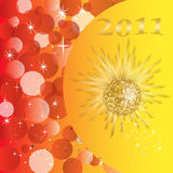 New years eve - 2011. Illustration of a golden mirror ball on a silvester background stock illustration