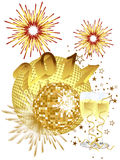 New years eve - 2011. Illustration of a golden mirror ball on a silvester background Royalty Free Illustration