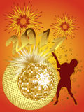 New years eve 2011. Illustration of a female silhouette infront of a colorful mirror ball Stock Photos