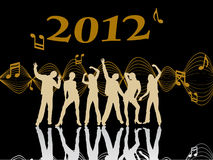 New years eve 2012. Illustration of dancing people silhouettes on an abstract party background Stock Photos