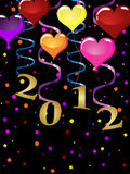 New years eve 2012. Illustration of colorful balloons and golden numbers on a confetti background stock illustration