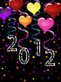 New years eve 2012. Illustration of colorful balloons and silver numbers on a confetti background vector illustration
