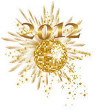 New years eve 2012. Illustration of a golden mirror ball and golden numbers Royalty Free Stock Photography