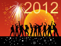 New years eve 2012. Illustration of dancing people silhouettes on an abstract party background Royalty Free Stock Photo