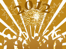New years eve 2012. Illustration of dancing people silhouettes on an abstract party background Royalty Free Stock Images