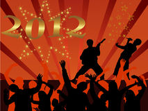 New years eve 2012. Illustration of dancing people silhouettes on an abstract party background Stock Images