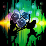 New years eve 2013. Illustration of dancing people silhouettes on an abstract party background Royalty Free Stock Image
